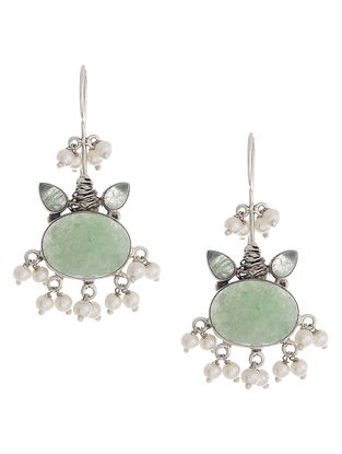 Green Aventurine Silver Earrings with Pearls