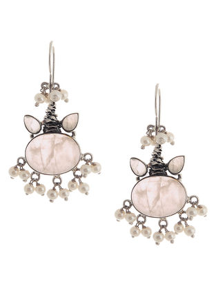 Rose Quartz Silver Earrings with Pearls