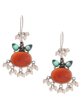Red-Green Silver Earrings with Pearls
