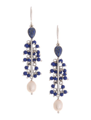 Lapis Lazuli and Pearl Drop Silver Earrings