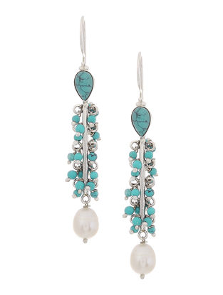 Turquoise and Pearl Drop Silver Earrings