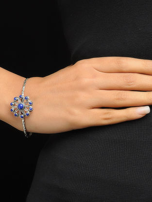 Lapis Lazuli Silver Bangle with Floral Design (Bangle Size -2/4)