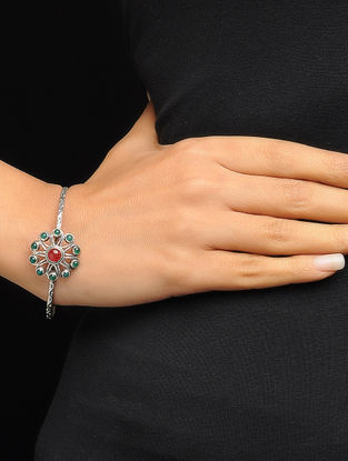 Red and Green Silver Bangle with Floral Design (Bangle Size -2/4)