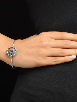 Turquoise and Lapis Lazuli Silver Bangle with Floral Design (Bangle Size -2/4)