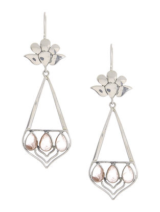Rose Quartz Silver Earrings with Floral Design