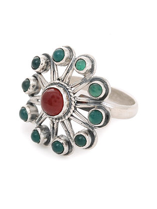 Red-Green Adjustable Silver Ring