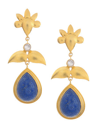 Lapis Lazuli and Crystal Gold Tone Silver Earrings with Floral Design
