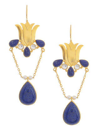 Lapis Lazuli and Crystal Gold Tone Silver Earrings with Lotus Design