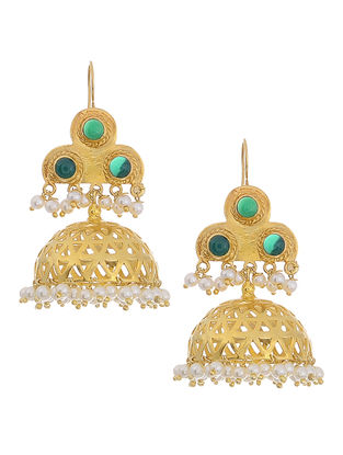 Green Onyx Gold Tone Silver Jhumkis