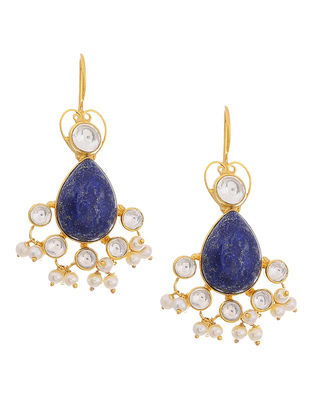 Lapis Lazuli and Crystal Gold Tone Silver Earrings