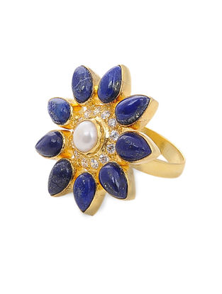 Lapis Lazuli and Pearl Gold Tone Silver Adjustable Ring