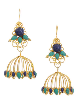 Lapis Lazuli and Turquoise Gold Tone Silver Earrings