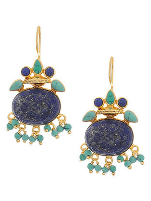Lapis Lazuli and Turquoise Gold Silver Earrings