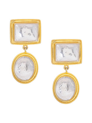 Classic Crystal Gold Tone Silver Earrings