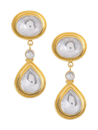Pearl and Crystal Gold Tone Silver Earrings