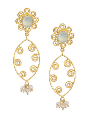 Chalcedony Gold Tone Silver Earrings with Floral Design