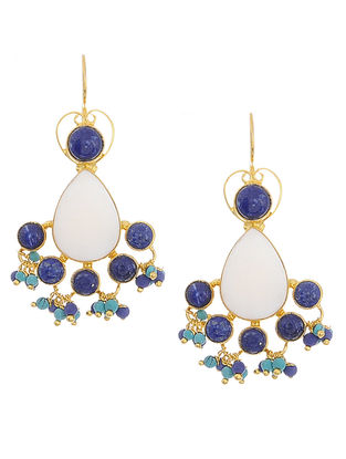 Lapis Lazuli and Mother of Pearl Gold Tone Silver Earrings