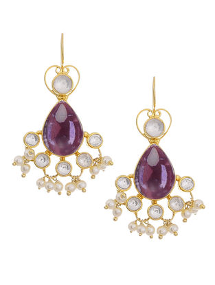 Amethyst and Crystal Gold Tone Silver Earrings
