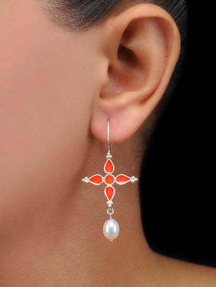 Orange Enameled Pearl Drop Silver Earrings