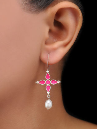 Pink Enameled Pearl Drop Silver Earrings