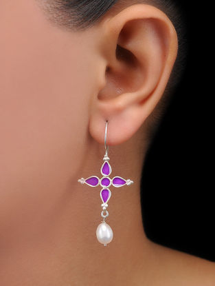 Purple Enameled Pearl Drop Silver Earrings