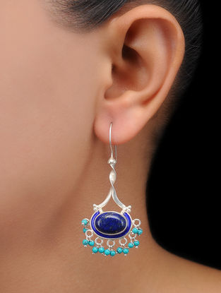 Lapis Lazuli Enameled Silver Earrings