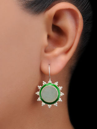 Green Aventurine Enameled Silver Earrings
