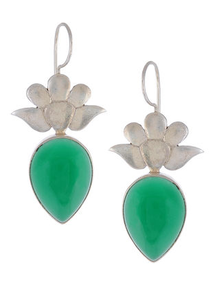 Green Onyx Floral Silver Earrings
