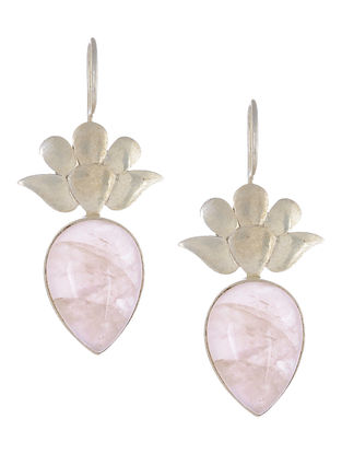 Rose Quartz Floral Silver Earrings