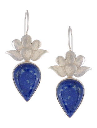 Lapis Lazuli Floral Silver Earrings