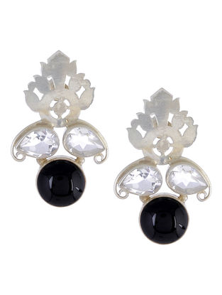 Black Onyx Floral Silver Earrings