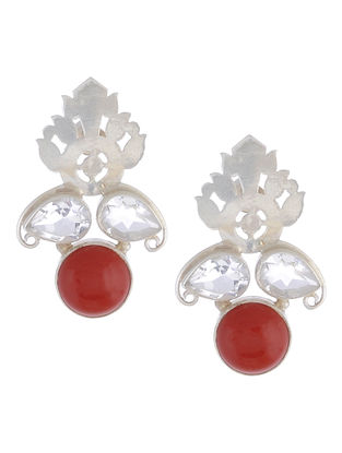 Coral Floral Silver Earrings