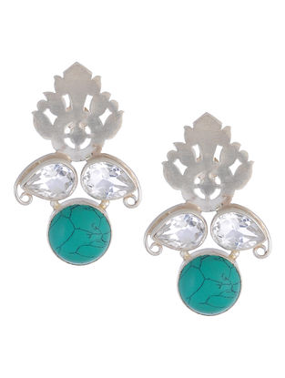 Turquoise Floral Silver Earrings