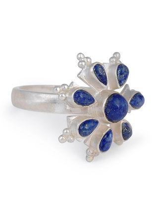 Lapis Lazuli Floral Adjustable Silver Ring