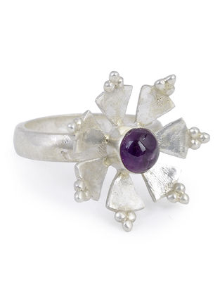 Amethyst Floral Adjustable Silver Ring