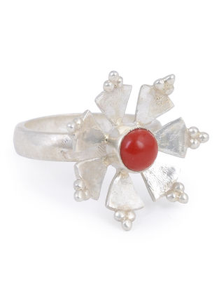 Coral Floral Adjustable Silver Ring