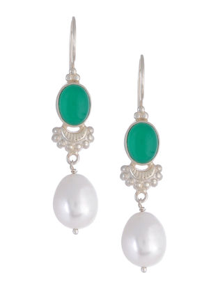 Green Onyx Pearl Drop Silver Earrings