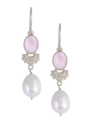Rose Quartz Pearl Drop Silver Earrings