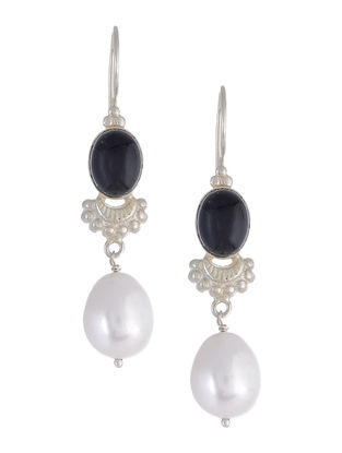 Black Onyx Pearl Drop Silver Earrings
