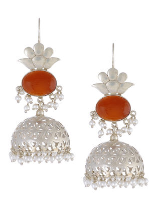 Red Onyx Silver Jhumkis