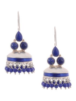 Lapis Lazuli Enameled Silver Jhumkis