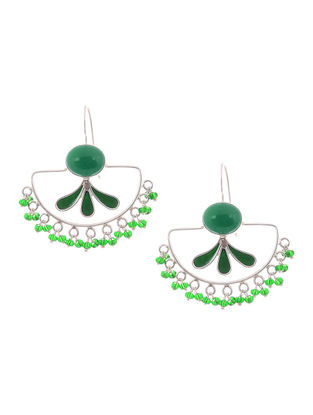 Green Onyx Enameled Silver Earrings