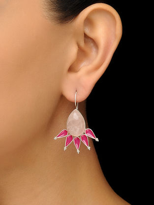 Rose Quartz Enameled Silver Earrings