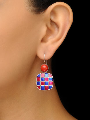 Coral Enameled Silver Earrings