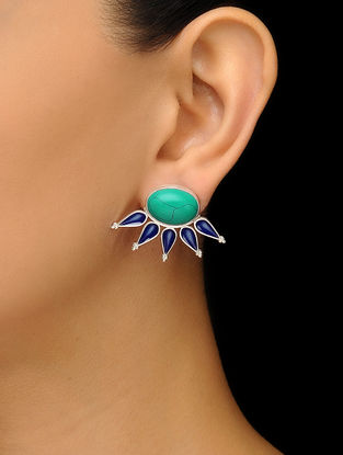 Turquoise Enameled Silver Earrings