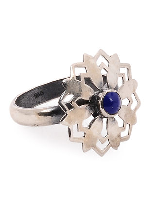 Lapis Lazuli Silver Ring with Floral Design (Ring Size -7)