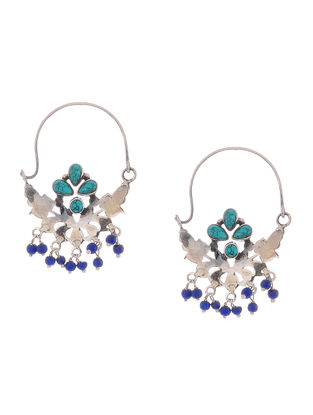 Turquoise and Lapis Lazuli Silver Earrings