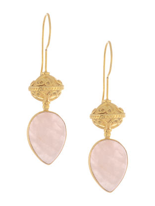 Rose Quartz Gold Tone Silver Earrings