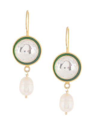 Green Enameled Crystal Gold Tone Silver Earrings with Pearls