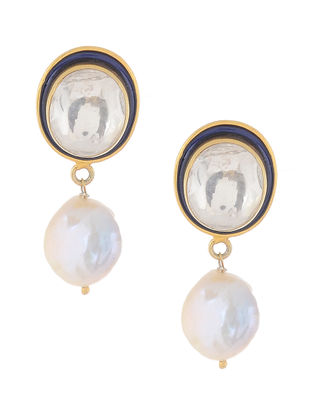 Blue Enameled Crystal Gold Tone Silver Earrings with Pearls